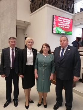 Представляющие Пинский регион парламентарии на совместном заседании палат белорусского парламента седьмого созыва. 19 мая 2021 года